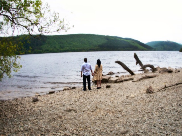 Engagement photography for Emma and Darren at Lake Vyrnwy, August 2011.